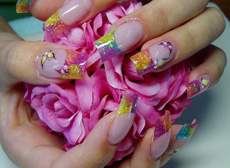 Фото ногтей аквариум с блестками
